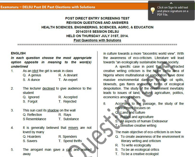 Post-UTME Past Questions and Answers