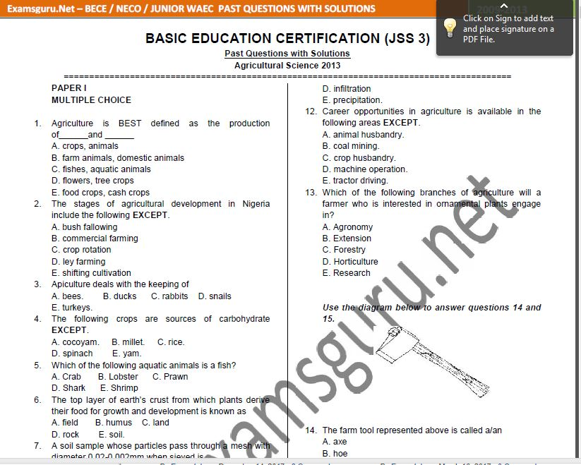 Junior WAEC (BECE) Past Questions and Answers   Download Free PDF