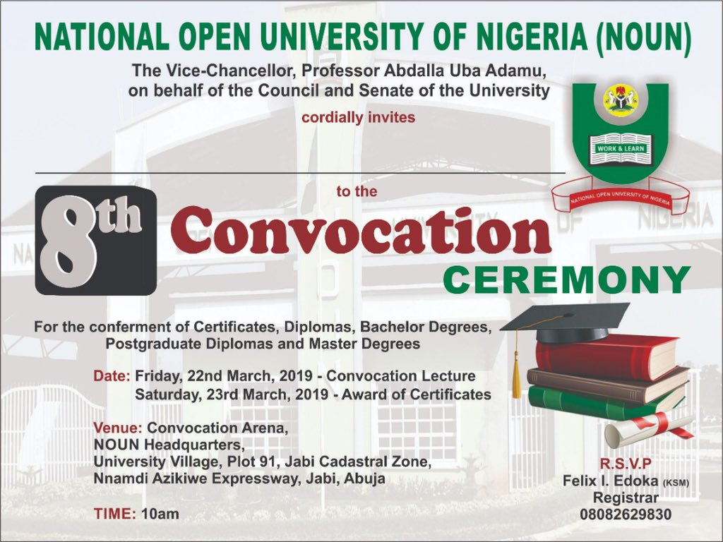 NOUN Convocation Ceremony Schedule of Events
