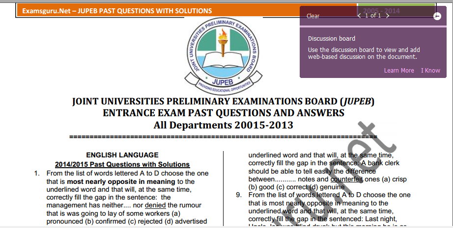 JUPEB Entrance Exam Past Questions and Answers Free
