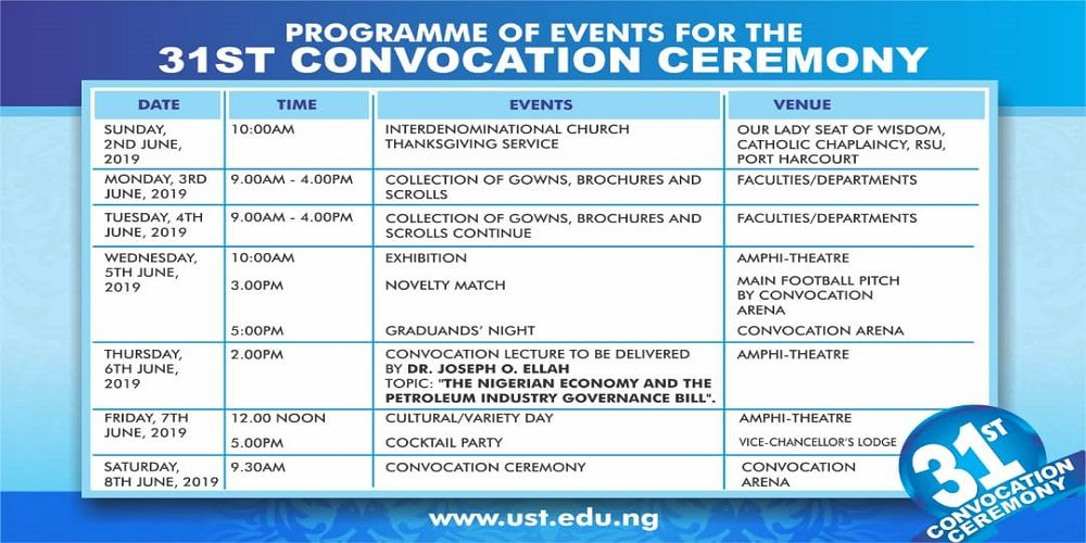 Rivers State University Convocation Ceremony Programme of Events