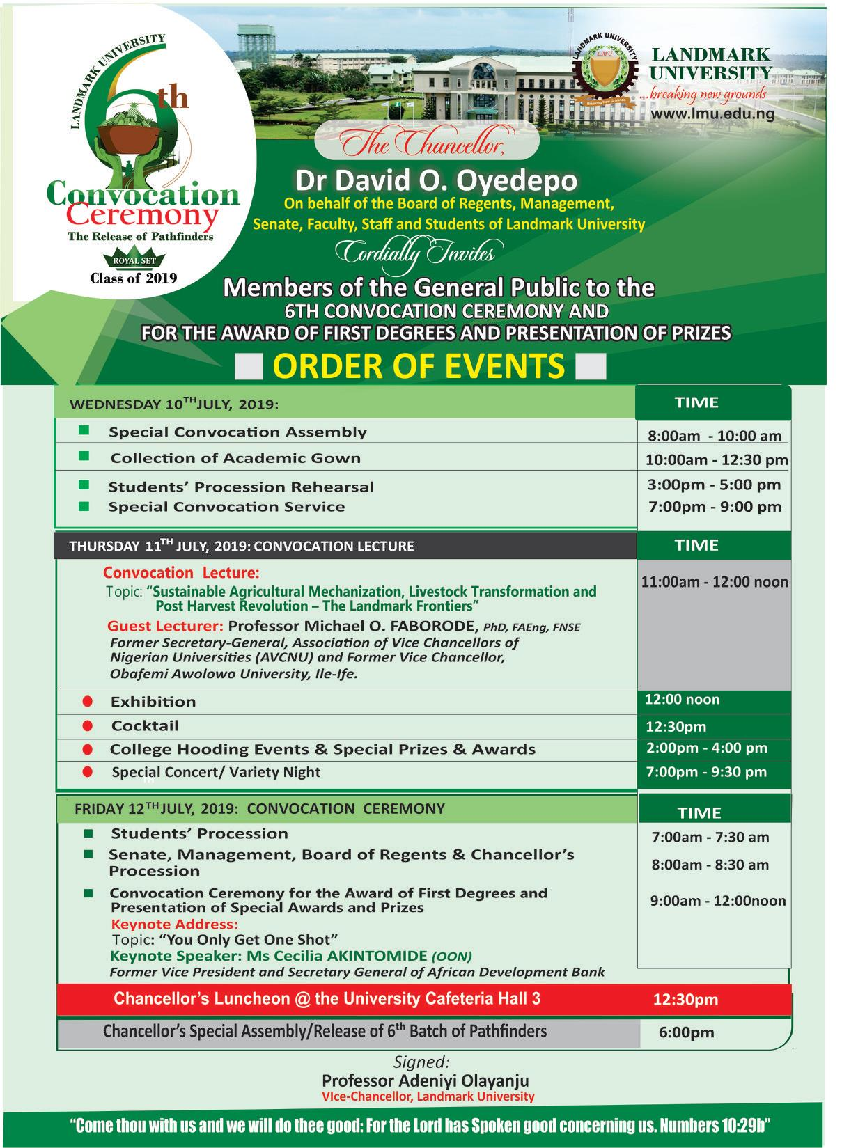 Landmark University Convocation Ceremony Programme of Events