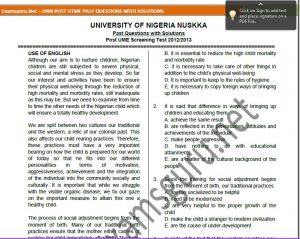 Post-UTME Past Questions