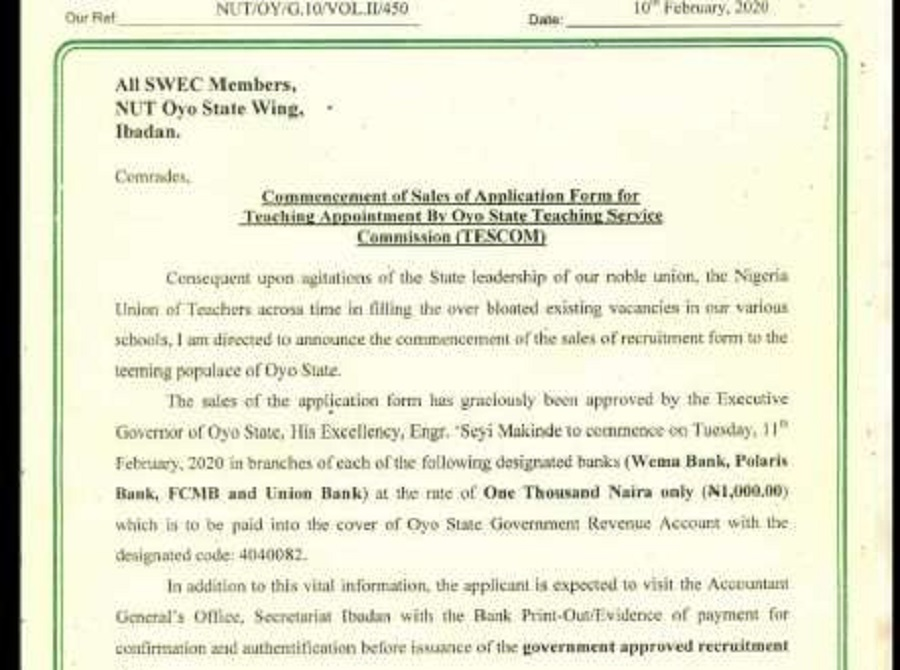 Oyo State TESCOM Recruitment Past Questions